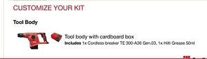 HILTI TE 300-A36 SDS PLUS BREAKERCordless breaker TE 300-A36 box #2199531 NEW!!