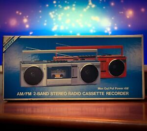 UNISEF AF-5000 80's 💥BOXED💥 Vintage Gheto-Blaster Stereo Red Cassette Boombox