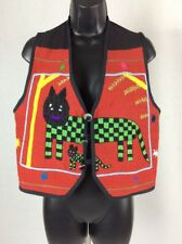 Daily Planet Checkered Cat Vest Small S Folk Art Embroidered Red Black Button