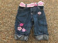 Girls Turn Up Flower Jeans 12M