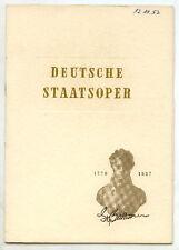 Opernheft: Deutsche Staatsoper FIDELIO 1953