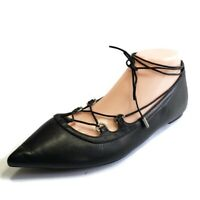 MICHAEL KORS Black Leather Tabby Pointed Toe Ankle Wrap Lace Womens Size 8 US