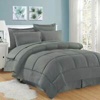 Soft Dobby 8-piece Striped Down Alternative Bed-in-a-Bag Set