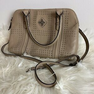 Simply Vera Wang Handbag Purse Taupe Handle Strap Embellished Studs Faux Leather