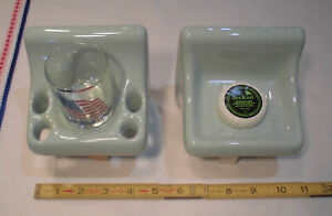 Seafoam-Green; Sink Set, Glossy Ceramic Soap Dish + Cup & Toothbrush Holder New