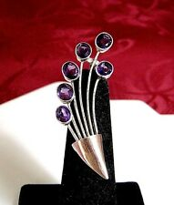 Amethyst Branch Pin Brooch 4.3 Gr Vintage 925 Sterling Silver Gold Plate Purple