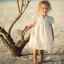 V-neck Lace Cotton Children Baby Girl Dress Summer White Knee Princess Dress NEW