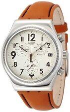 Swatch Leblon Beige Dial SS Tan Leather Quartz Chronograph Watch YVS408