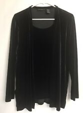 Impressions Lifestyle Blouse Attached Cardigan Sz Small Black Velvet Stretch N1