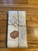 Pottery Barn Harvest Pumpkin Table Napkins Set of 4 Cream Linen Cotton NEW PKG