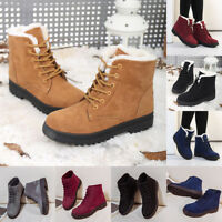 Womens Winter Lace Up Ankle Boots Warmer Pumps Outdoors Flats Sole Martin Shoes