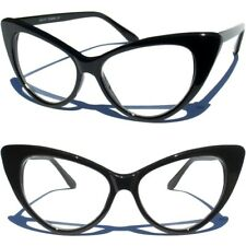 CAT EYE CLEAR LENS GLASSES Retro Hipster Pointed SEXY BLACK FRAME Vintage Style