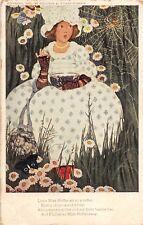 C92/ Artist Signed Postcard c1910 Stokes Little Miss Muffet Fairy Tale Spider 16