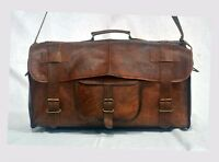 Men's Leather Handmade Vintage Duffle Luggage Carry on Gym Overnight Travel Bag