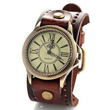 Mujer Correa Ancha Marrón Cinturón De Piel Reloj pulsera Romano Números GB