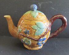 Vintage Majolica Style Blackberry Blackberries Basket Weave Tea Pot Noveau?