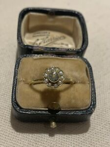 Edwardian 15ct Gold Aquamarine & Pearl Cluster Ring