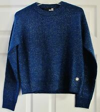 NEW Love Moschino Long Sleeve Blue Silver Knit Sweater Size 8, Italy Size 44