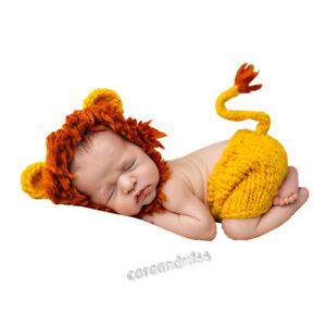 Newborn Studio Photo Shoot Photography Creative Clothes Baby Lion Hat Pants Suit