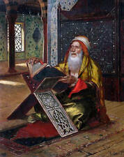 Oil painting male portrait  Arab old man wearing scarf reading book Hand painted