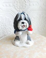 Bearded Collie with Cardinal Sculpture Furever Clay by Raquel