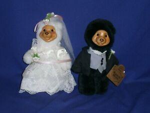 Vintage Robert Raikes Bride & Groom Plush Wood Face Bears by Applause 1990s 7½in