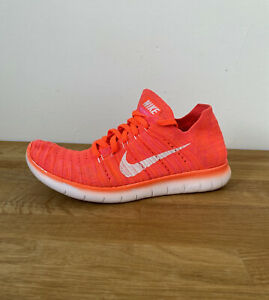 Womens Nike Free RN Run Flyknit Hyper Orange Running Trainers Lace Up Size 4