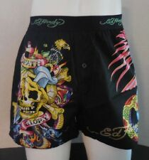 Ed Hardy Men's Woven Boxer Button Fly Shorts Skull Death of Glory Size XL