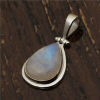 12.30 Ct Rainbow Moonstone Handmade Bezel Set 925 Sterling Silver Pendant