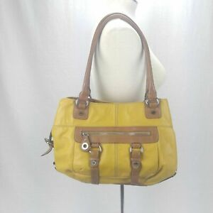 Tignanello Mustard Yellow Buckle Hobo Shoulder Leather Handbag Purse