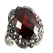 925 ECHT SILBER *** Markasit Ring mit Zirkonia granat rot, Größenauswahl