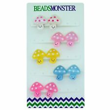 Clip on Earrings for Little Teen Girls Kids Daughter Cute Mushroom Gift Set
