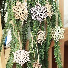 10pcs Hexagon Leave Snowflake Wooden Embellishment Xmas Tree Decor w string