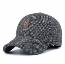 Mens Grey Tweed Effect Baseball Cap with Badge and Earflaps - BB0007
