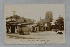 More details for postcard town hall & market place market rasen lincolnshire posted 1915-19 rp