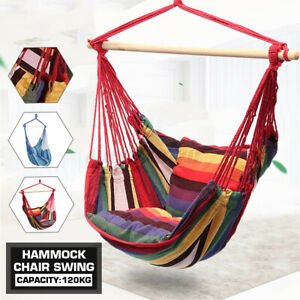 Garden Hammock Chair Hanging Swing Seat W/ 2 Cushions Outdoor Deluxe Camping