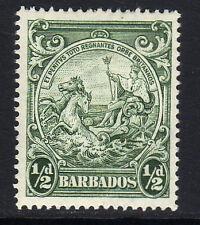 Barbados 1938 ½ D Verde Perf 14 Sg 248b Perfecto.