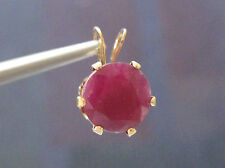 2.50ct 14k YELLOW GOLD  HUGE NATURAL RUBY PENDANT! AMAZING COLOR, BEAUTIFUL