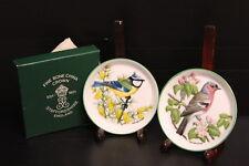 "Set of 2 Boxed Crown Staffordshire Fine Bone China Miniature Bird Plates 4"" D"