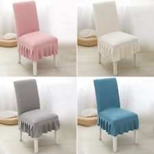 Chair Cover Dining Chair Slipcover Ruffled Skirt Chair Protector Soild Color