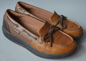 Ladies Skechers Shape-Ups Tan Brown Leather Wedge Deck Shoes Size UK 7