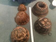 5 copper cooking mould jelly mould antique rare spider mould
