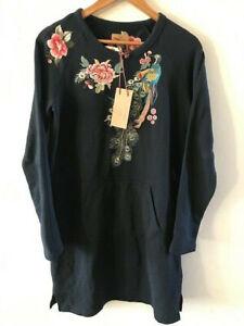 SUNDANCE CATALOG by Drifwood LAYLA Embroidered Sweatshirt Navy Tunic LARGE NWT
