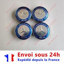 LOT 4 Caches Moyeu Emblème Mercedes Logo Jantes Centre Roue Bleu et Gris 60 mm