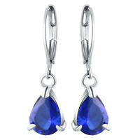 14k White Gold Leverback One Stone Dangle Earrings, Natural Pear Sapphire 1.8TCW