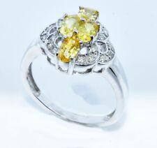 Yellow Sapphire Diamond  Ring 14k White Gold