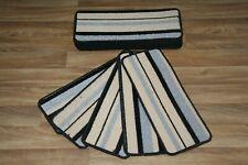 14 Grey Beige Stripey Carpet Stair Case Treads Pads Large Stripe Pad Dale Grey