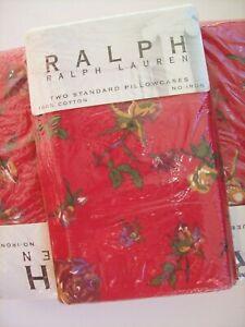 NIP ~ RALPH by Ralph Lauren Studio MUSE RED Standard Pillowcases Set Rose Floral