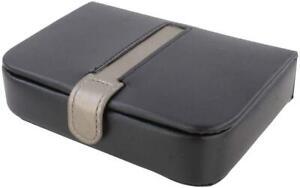 Mele Gents - Mens Black With Metallic Trim Travel Cufflink & Tie Pin Box