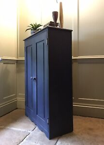 Slim Pine Cupboard Painted In Oxford Navy
